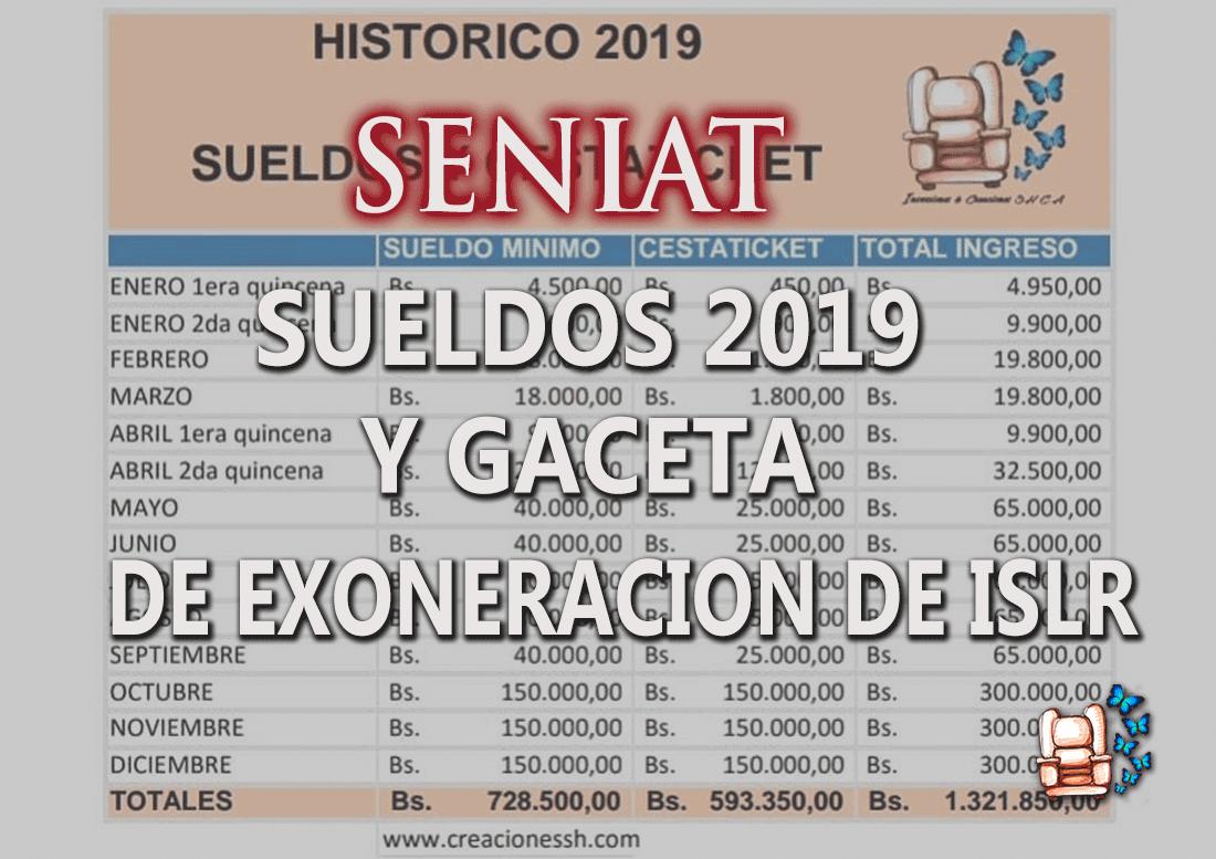SUELDOS 2019 Y GACETA DE EXONERACIÓN DE ISLR